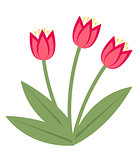 Bouquet of pink tulips icon, flat style. Isolated on white background. Vector illustration, clip-art.