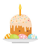 Easter cake with candles on a plate with eggs icon, flat style. Isolated on white background. Vector illustration, clip-art.