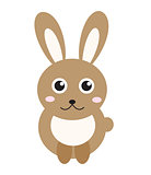 Cute bunny icon, flat style.Rabbit isolated on white background. Vector illustration, clip-art.