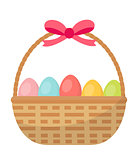 Basket with painted eggs. Easter basket icon, flat style. Isolated on white background. Vector illustration, clip-art.