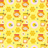 Honey seamless pattern. Beekeeping endless background, texture. Vector illustration.