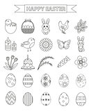 Happy Easter icon set, line style, doodle, hand drawing. Vector illustration.