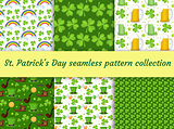 St. Patricks Day seamless pattern collection with beer and clover. Endless backdrop texture. Vector illustration.