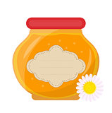 Jar of honey icon, flat style. Isolated on white background. Vector illustration, clip-art.