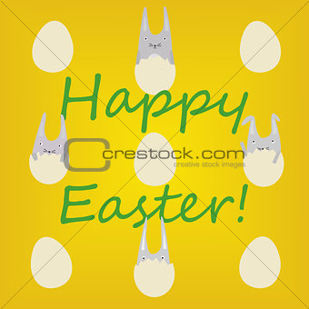 Greeting Card with Rabbits in Eggs