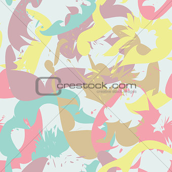 Abstract seamless pattern with floral silhouettes
