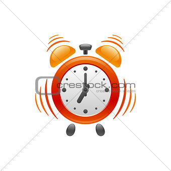 Alarm clock with vibration. Vector icon.