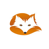 Red fox with tail. Negative space. Vector illustration.