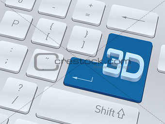 3d text concept on button of white computer keyboard.