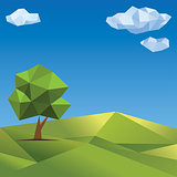 Polygonal tree. Abstract vector Illustration, low poly style.