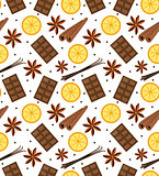 Spices seamless pattern. Mulled wine and chocolate endless background, texture. Vector illustration.