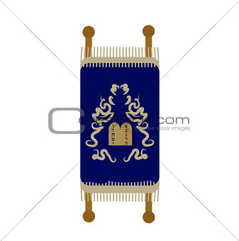 Torah icon, flat, cartoon style. Scroll Isolated on white background. Vector illustration, clip-art.