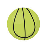 Ball for tennis icon, flat, cartoon style. Isolated on white background. Vector illustration, clip-art.