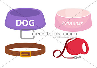 Animal accessories supplies set of icons, flat, cartoon style. Collection of items for dog care with bowl, leash, collar. Isolated on white background. Vector illustration, clip-art.