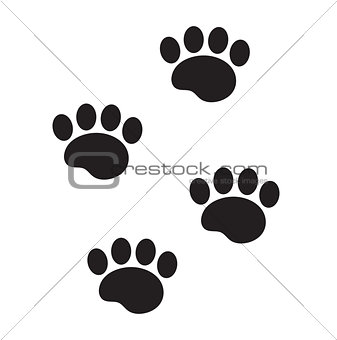 Foot marks of an animal icon, flat, cartoon style. Traces of dog paw isolated on white background. Vector illustration, clip-art.