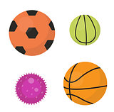 Balls set icons, flat, cartoon style. Collection of football, basketball, tennis. Isolated on white background. Vector illustration, clip-art.
