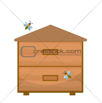 Bee house icon, flat style. Apiary isolated on white background. Vector illustration, clip-art.