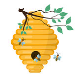 Bee-hive, swarm icon, flat style. Isolated on white background. Vector illustration, clip-art.