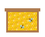 Honeycomb in wooden frame icon, flat style. Isolated on white background. Vector illustration, clip-art.