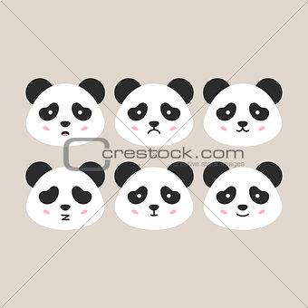 Flat Panda Heads
