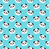 Smiling Panda Faces Seamless Pattern