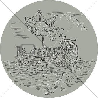 Ancient Greek Trireme Warship Circle Drawing