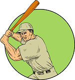 Baseball Player Batting Stance Circle Drawing