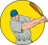 Baseball Player Swinging Bat Drawing