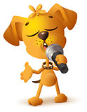 Yellow dog singing solo microphone