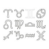 Thin line horoscope icon set