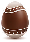 Brown Easter egg decorated with white chocolate