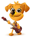 Yellow dog playing guitar