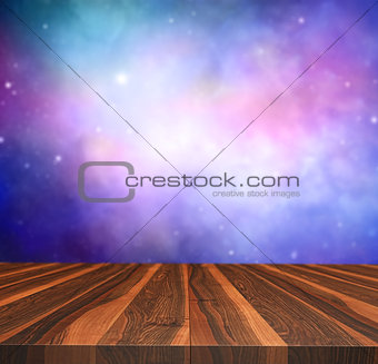 3D wooden table looking out to a night sky