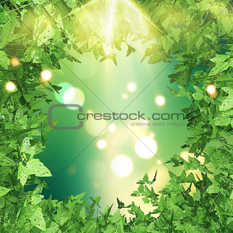 3D green leaves border