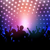 Party crowd on disco lights background