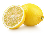 Whole yellow lemon citrus fruit with half isolated on white