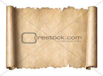 Old paper manusript scroll isolated on white horizontally oriented