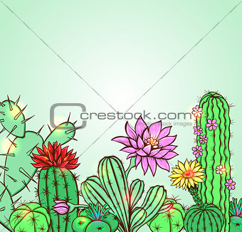 Cactus on a green background