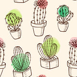 Pattern with cactus in flowerpot