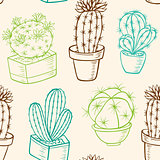Seamless pattern with cactus