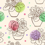 Seamless pattern with houseplants