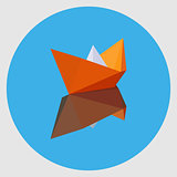 Orange paper boat with the reflection