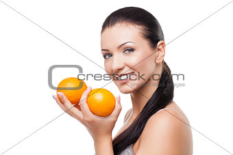 Beautiful girl with oranges