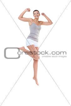Beautiful girl jumping