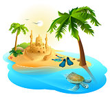 Tropical island paradise beach. Palm tree, sand castle, fins, sea turtle