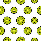Kiwi fruit slices seamless green pattern on white.