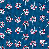 Rowan berry seamless pattern on blue.