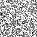 Line rose wedding seamless vector pattern.