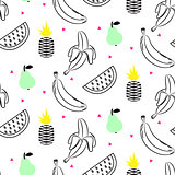 Sketch line fruit salad seamless pattern.