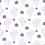 Cactus plant neon vector seamless pattern. Abstract cartoon desert fabric print.